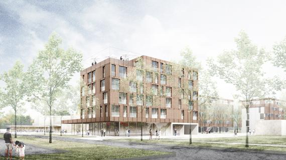 """Wettbewerb """"Neues Wohnen im Zentrum"""" in Bonn-Tannenbusch, 2. Preis"""