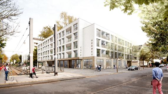 """Wettbewerb """"Neubebauung Hermeskeiler Platz"""" in Köln-Sülz, 2. Preis"""