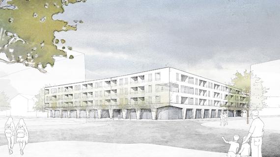 Wettbewerb Altengerechte Wohnanlage im Stadtzentrum in Dingolfing – 3. Preis